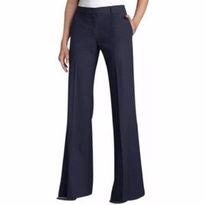 THEORY Emery Tailor Wool Navy Blue Wide Pants 0